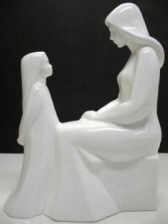 Royal Doulton White Porcelain Mother and Daughter Figurine