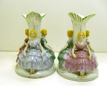 Occupied Japan 3-lady candlesticks