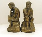 Unsigned Boy Thinker, Gold Wash, Metal Bookends